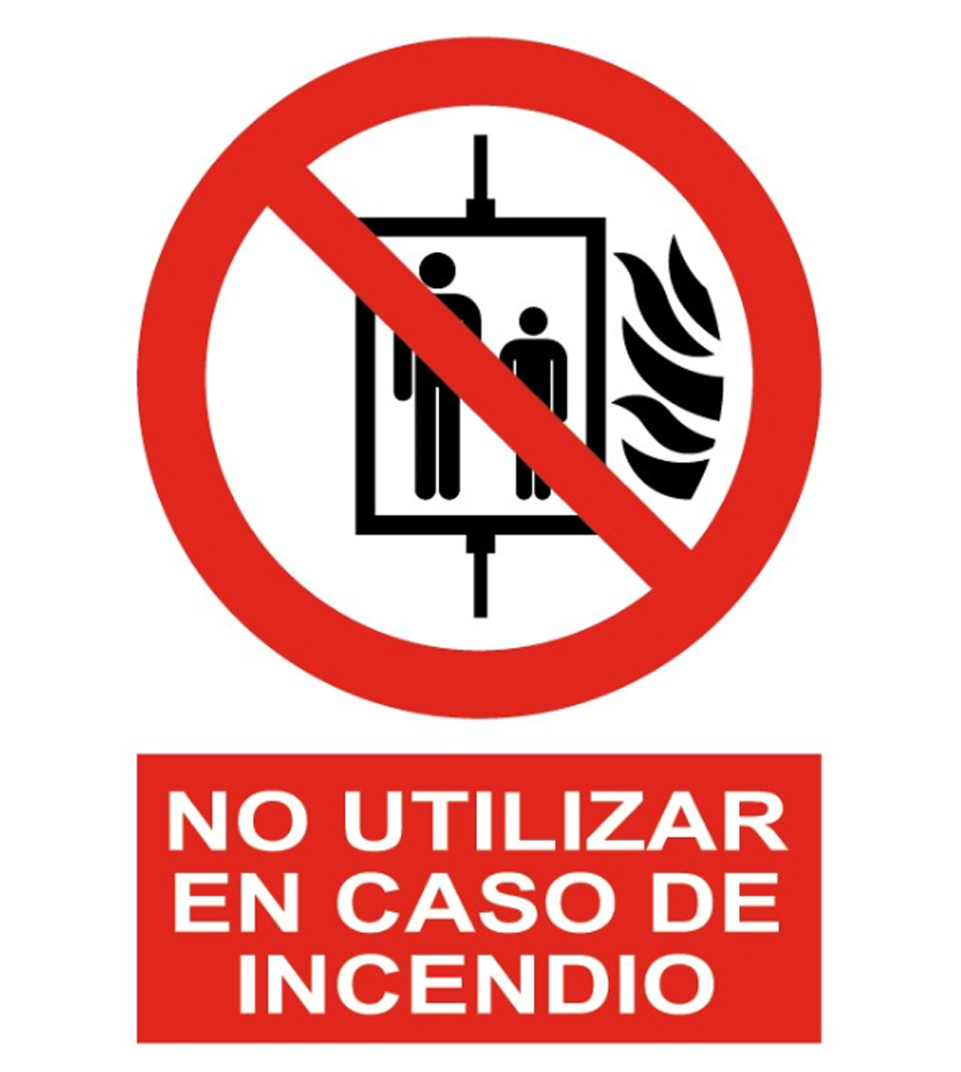 No usar ascensor en caso de incendio