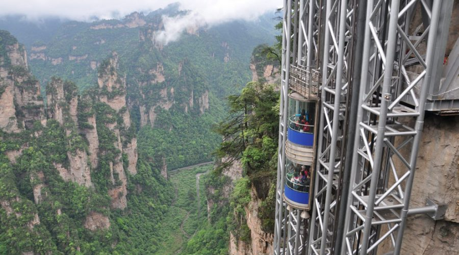 El ascensor (exterior) más alto del mundo.